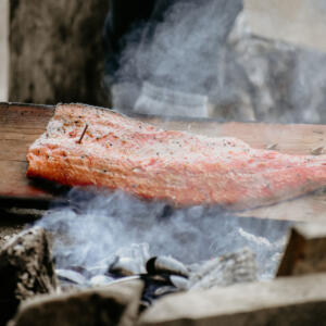4 salmon cooking on plank S Birdsall
